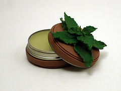 Spearmint Lip Balm Tin (Open)
