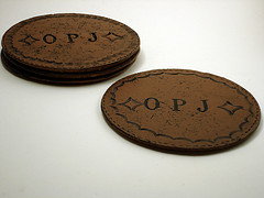 Faux Leather Monogrammed Coaster Set