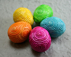 Rainbow filigree quail eggs by starlessdesigns