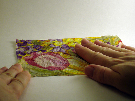 Gluing Tissue Paper on Paperboard