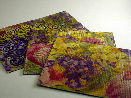 Recycled Tissue Paper Postcards by CraftyGoat