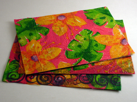 Recycled Tissue Paper Postcard Variation by Crafty Goat