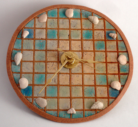Seashell Mosaic Polymer Clay Clock