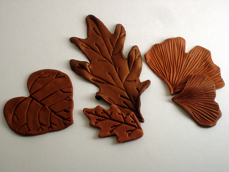 Polymer Clay Leaves from Shape Makers Leaf Set IV
