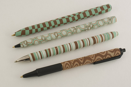 Cane-Covered Polymer Clay Pens by Crafty Goat