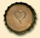 Metallic Heart Bottle Cap